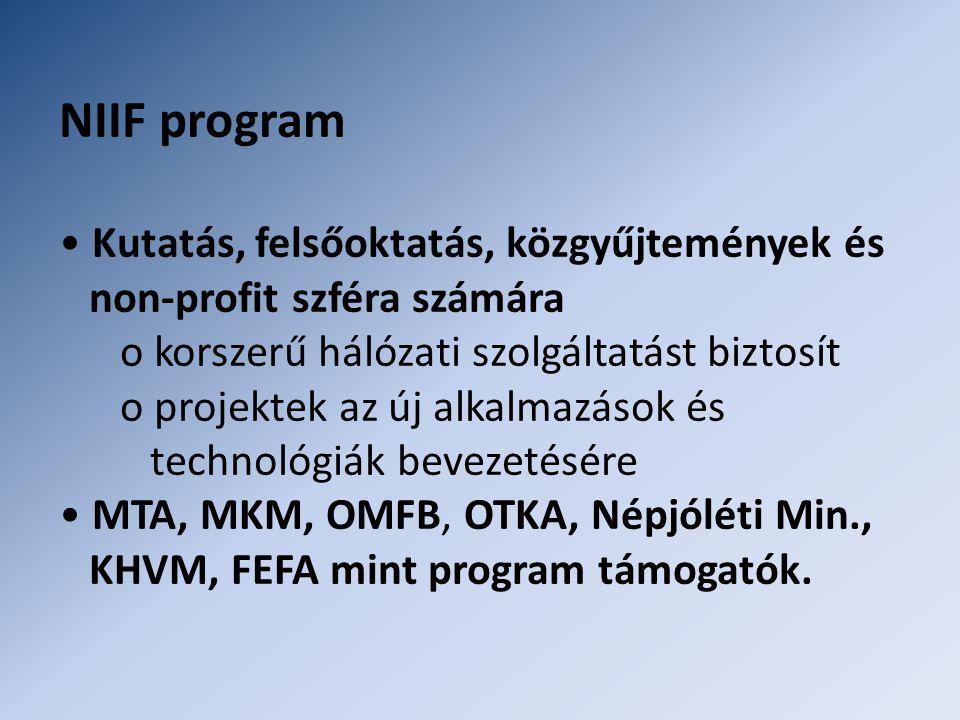 NIIF program • Kutatás, felsőoktatás, közgyűjtemények és non-profit szféra számára o korszerű hálózati szolgáltatást biztosít o projektek az új alkalmazások és technológiák bevezetésére • MTA, MKM, OMFB, OTKA, Népjóléti Min., KHVM, FEFA mint program támogatók.
