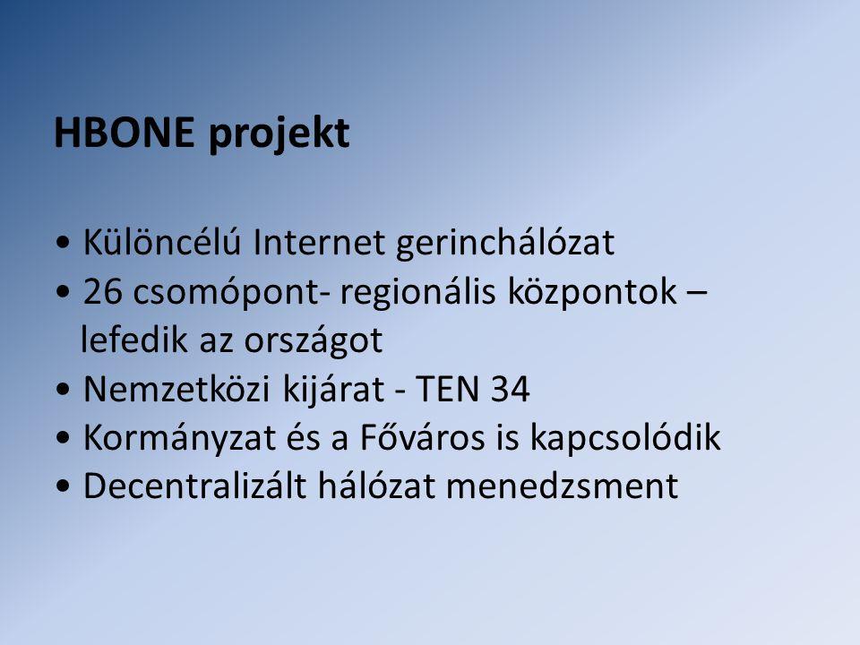 HBONE projekt • Különcélú Internet gerinchálózat • 26 csomópont- regionális központok – lefedik az országot • Nemzetközi kijárat - TEN 34 • Kormányzat