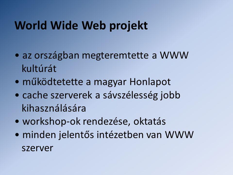 World Wide Web projekt • az országban megteremtette a WWW kultúrát • működtetette a magyar Honlapot • cache szerverek a sávszélesség jobb kihasználásá