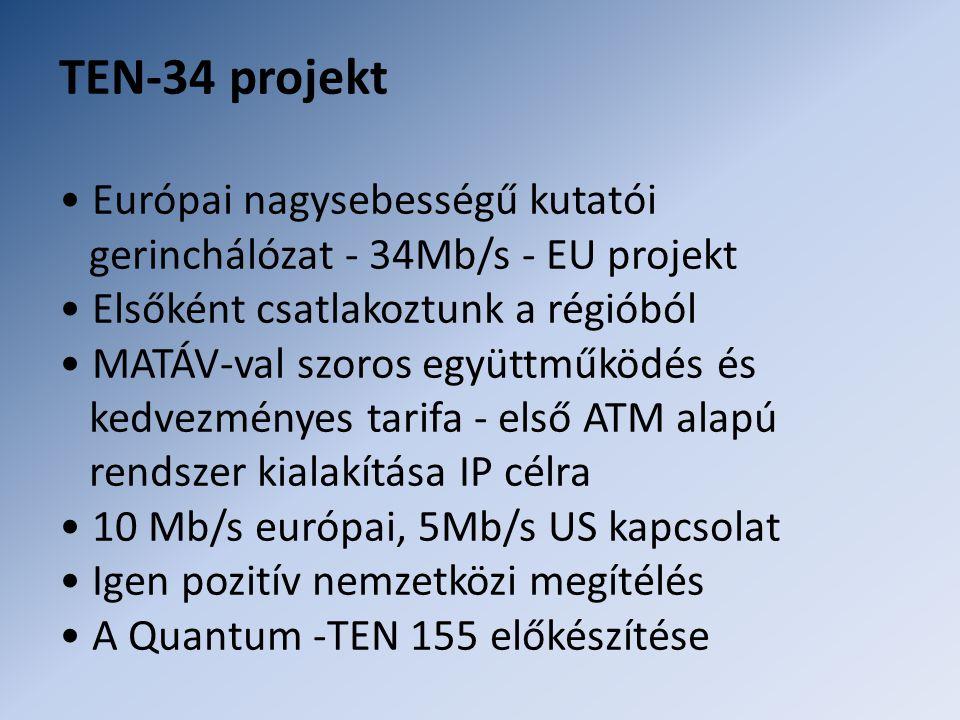 TEN-34 projekt • Európai nagysebességű kutatói gerinchálózat - 34Mb/s - EU projekt • Elsőként csatlakoztunk a régióból • MATÁV-val szoros együttműködés és kedvezményes tarifa - első ATM alapú rendszer kialakítása IP célra • 10 Mb/s európai, 5Mb/s US kapcsolat • Igen pozitív nemzetközi megítélés • A Quantum -TEN 155 előkészítése