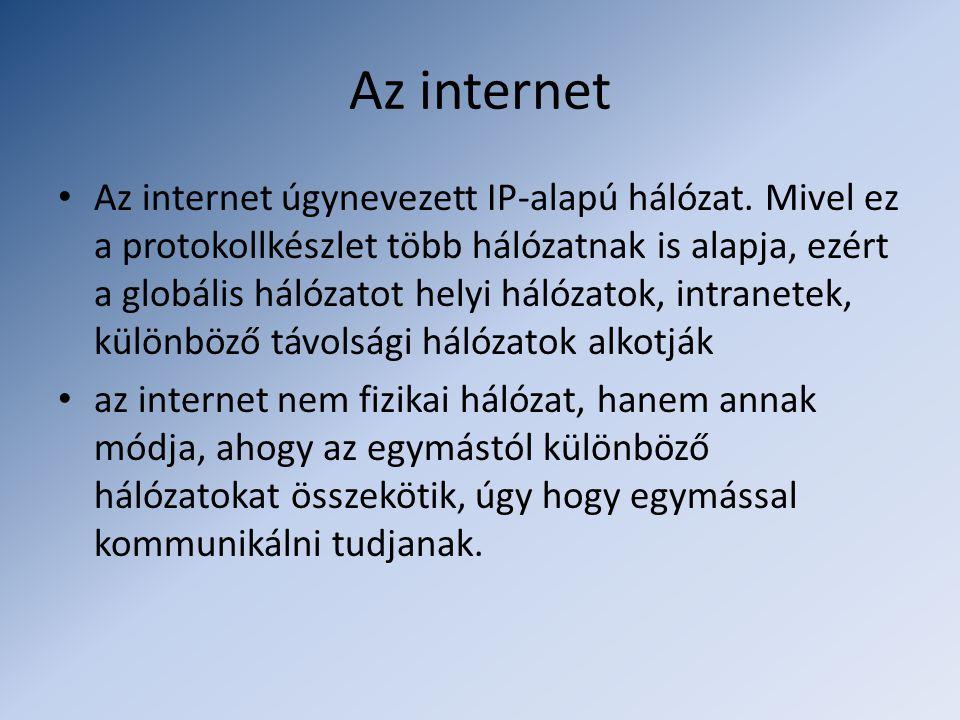 Az internet • Az internet úgynevezett IP-alapú hálózat. Mivel ez a protokollkészlet több hálózatnak is alapja, ezért a globális hálózatot helyi hálóza