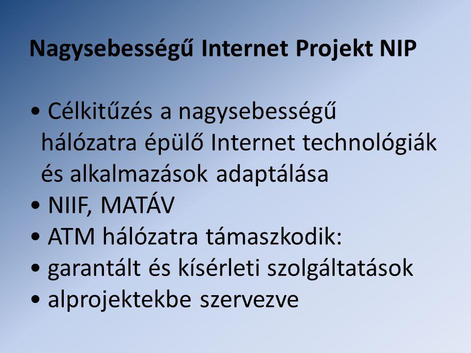 Nagysebességű Internet Projekt NIP • Célkitűzés a nagysebességű hálózatra épülő Internet technológiák és alkalmazások adaptálása • NIIF, MATÁV • ATM hálózatra támaszkodik: • garantált és kísérleti szolgáltatások • alprojektekbe szervezve