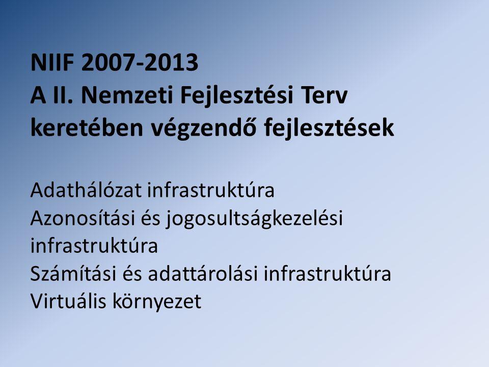 NIIF 2007-2013 A II. Nemzeti Fejlesztési Terv keretében végzendő fejlesztések Adathálózat infrastruktúra Azonosítási és jogosultságkezelési infrastruk
