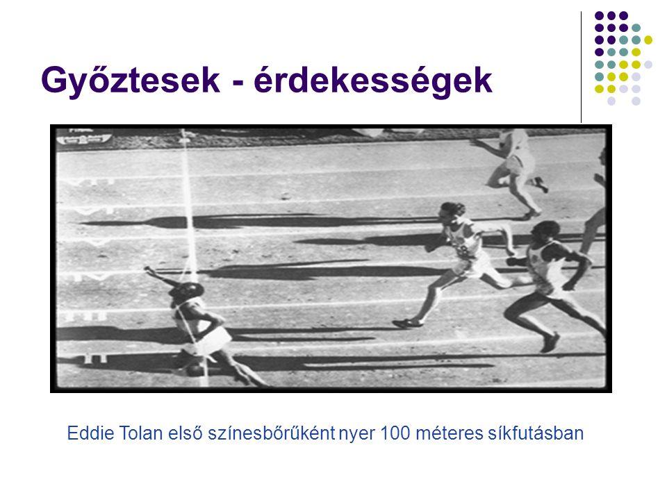 Győztesek - érdekességek Eddie Tolan első színesbőrűként nyer 100 méteres síkfutásban