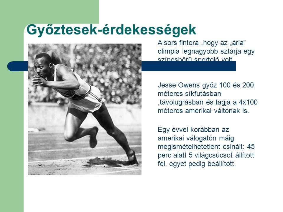 """A sors fintora,hogy az """"ária"""" olimpia legnagyobb sztárja egy színesbőrű sportoló volt. Jesse Owens győz 100 és 200 méteres síkfutásban,távolugrásban é"""
