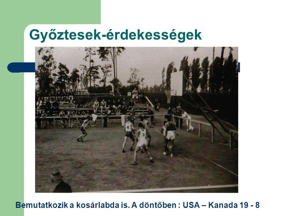 Győztesek-érdekességek Bemutatkozik a kosárlabda is. A döntőben : USA – Kanada 19 - 8