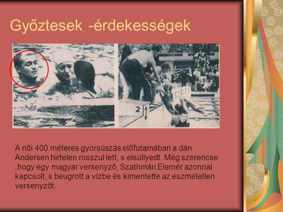 Győztesek -érdekességek A női 400 méteres gyorsúszás előfutamában a dán Andersen hirtelen rosszul lett, s elsüllyedt. Még szerencse,hogy egy magyar ve