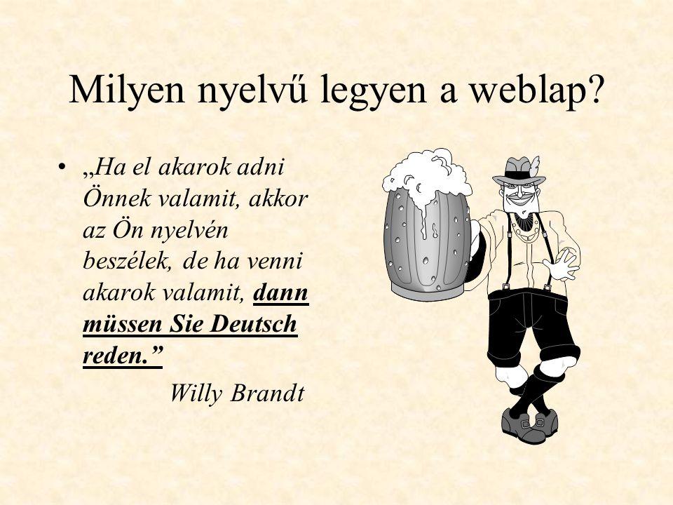 Milyen nyelvű legyen a weblap.