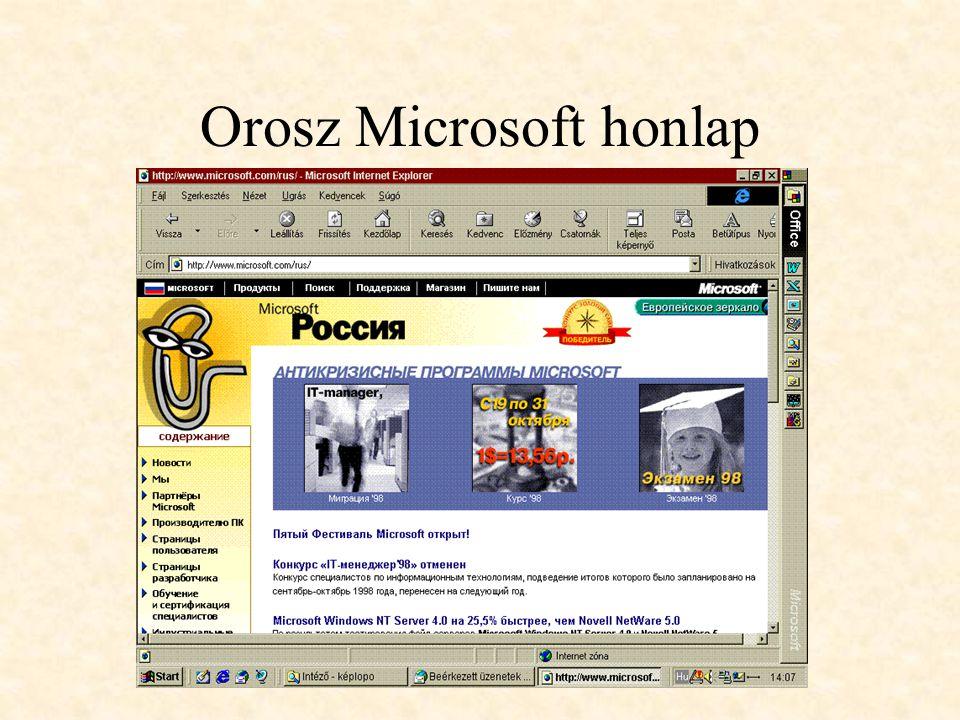 Orosz Microsoft honlap