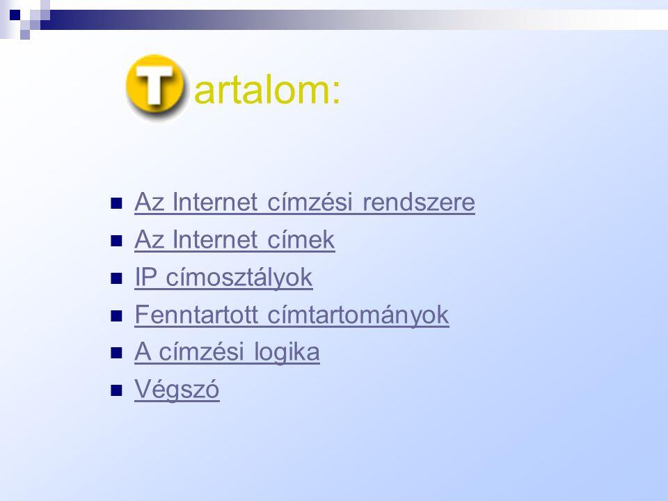 Az Internet Protocoll címzési szerkezete A prezentációt készítette: Vasvári Zoltán