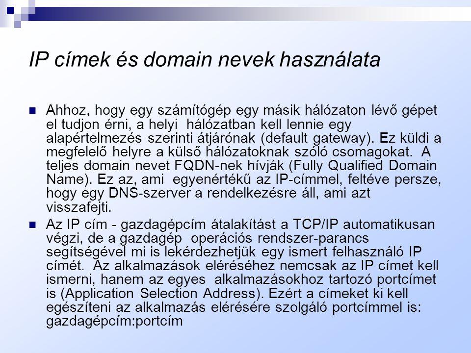 Fenntartott címtartományok  A 127-tel kezdődő címek a ''loopback'' ( = visszairányítás) címek, nem használhatók a hálózaton kívül, a hálózatok belső