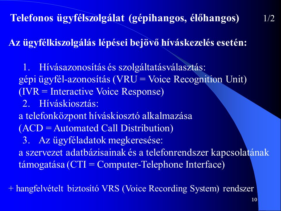 10 Az ügyfélkiszolgálás lépései bejövő híváskezelés esetén: 1. Hívásazonosítás és szolgáltatásválasztás: gépi ügyfél-azonosítás (VRU = Voice Recogniti