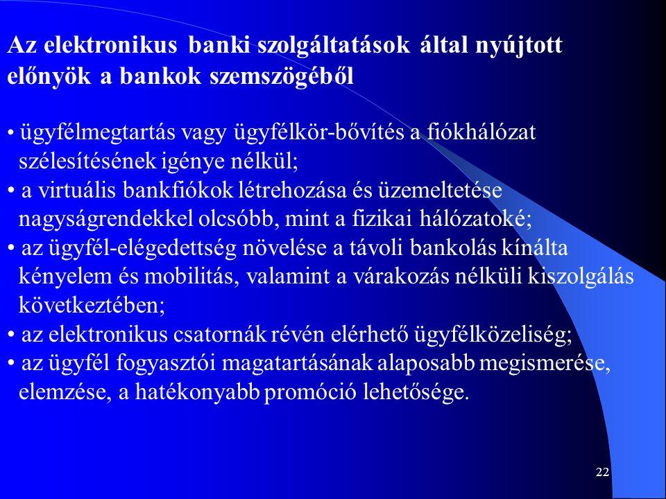 22 Az elektronikus banki szolgáltatások által nyújtott előnyök a bankok szemszögéből • ügyfélmegtartás vagy ügyfélkör-bővítés a fiókhálózat szélesítés