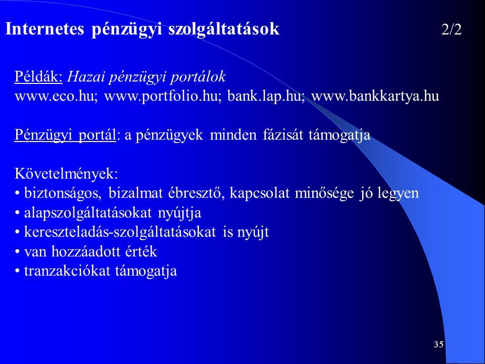35 Internetes pénzügyi szolgáltatások 2/2 Példák: Hazai pénzügyi portálok www.eco.hu; www.portfolio.hu; bank.lap.hu; www.bankkartya.hu Pénzügyi portál