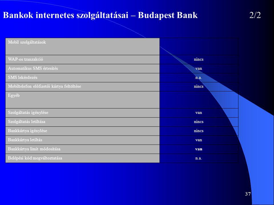 37 Bankok internetes szolgáltatásai – Budapest Bank 2/2 Mobil szolgáltatások WAP-os tranzakciónincs Automatikus SMS értesítésvan SMS lekérdezésn.a. Mo