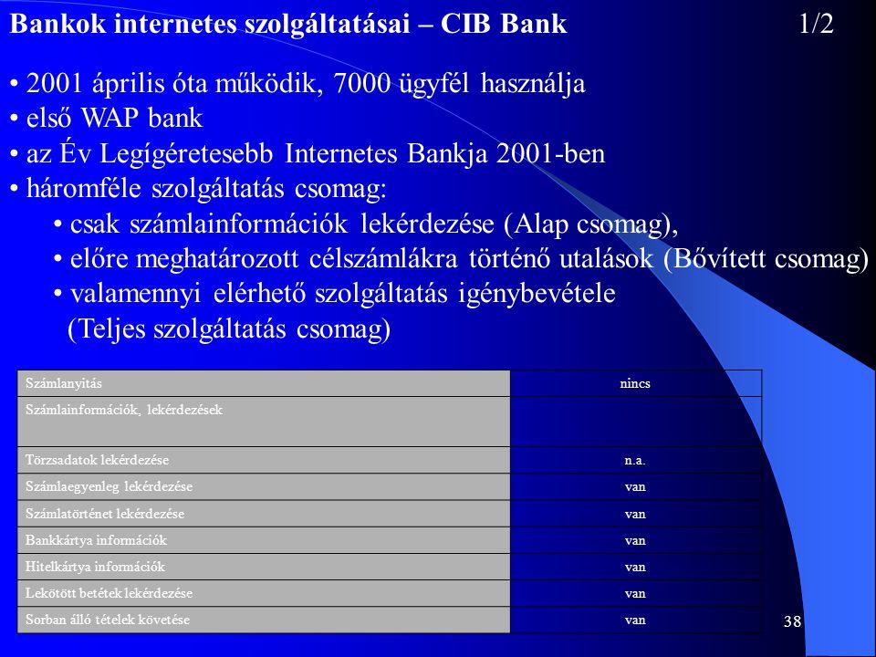 38 Bankok internetes szolgáltatásai – CIB Bank 1/2 • 2001 április óta működik, 7000 ügyfél használja • első WAP bank • az Év Legígéretesebb Internetes