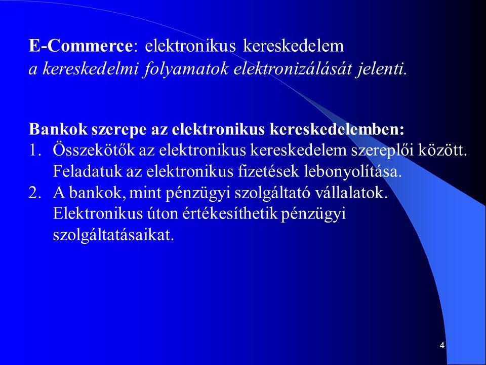 55 Források, linkek: • Mindennapi pénzügyeink: www.ofe.hu/teka/t6/Index.htm www.ofe.hu/teka/t6/Index.htm • Gellért Andor: Digitális pénzügyek (KJK 2001) • Bank&Tőzsde folyóirat Pénz a Hálón melléklete • TELEPIAC projekt: informatika.bke.hu/bke_web_new/db/Kutatas.nsf informatika.bke.hu/bke_web_new/db/Kutatas.nsf • Jó tudni: www.ofe.hu/jo_tudni/index.htm www.ofe.hu/jo_tudni/index.htm Elektronikus kereskedelem, bankkártya • Telecomputer: www.net.hu/telecomputer/ www.net.hu/telecomputer/ • Cikkek: www.e-ker.hu www.e-ker.hu • E-szótár: www.e-ker.hu/glossary.php www.e-ker.hu/glossary.php • HVG Online : www.hvg.huwww.hvg.hu Teszt teszt ellen, Banki szolgáltatások a neten (2001.04.28.) Egyéni feladat témák: • Egy kiválasztott elektronikus banki szolgáltatás bemutatása egy magyarországi banknál; vagy több banknál összehasonlítás.