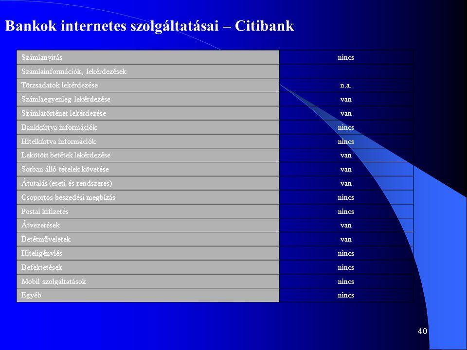 40 Bankok internetes szolgáltatásai – Citibank Számlanyitásnincs Számlainformációk, lekérdezések Törzsadatok lekérdezésen.a. Számlaegyenleg lekérdezés