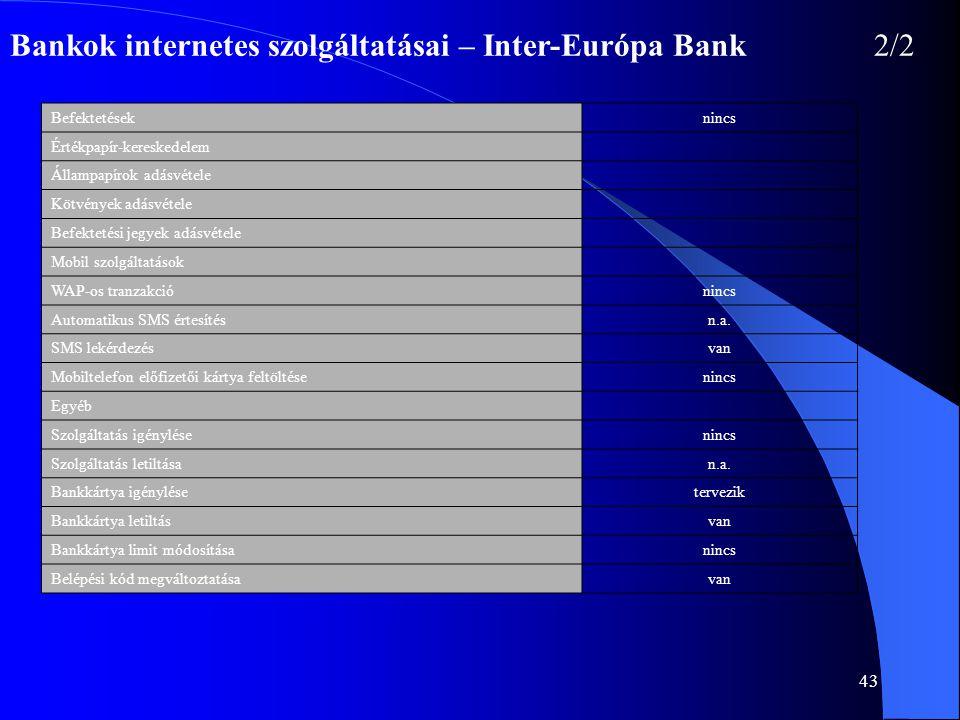 43 Bankok internetes szolgáltatásai – Inter-Európa Bank2/2 Befektetéseknincs Értékpapír-kereskedelem Állampapírok adásvétele Kötvények adásvétele Befe