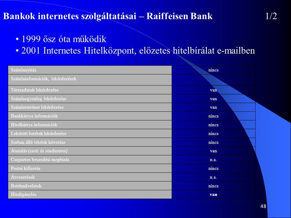 48 Bankok internetes szolgáltatásai – Raiffeisen Bank1/2 • 1999 ősz óta működik • 2001 Internetes Hitelközpont, előzetes hitelbírálat e-mailben Számla