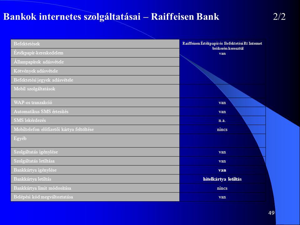 49 Bankok internetes szolgáltatásai – Raiffeisen Bank2/2 Befektetések Raiffeisen Értékpapír és Befektetési Rt Internet brókerén keresztül van Értékpap