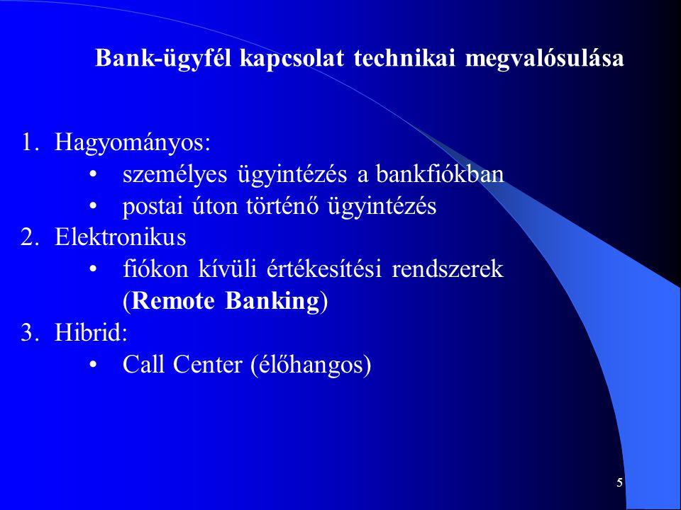 5 Bank-ügyfél kapcsolat technikai megvalósulása 1.Hagyományos: •személyes ügyintézés a bankfiókban •postai úton történő ügyintézés 2.Elektronikus •fió