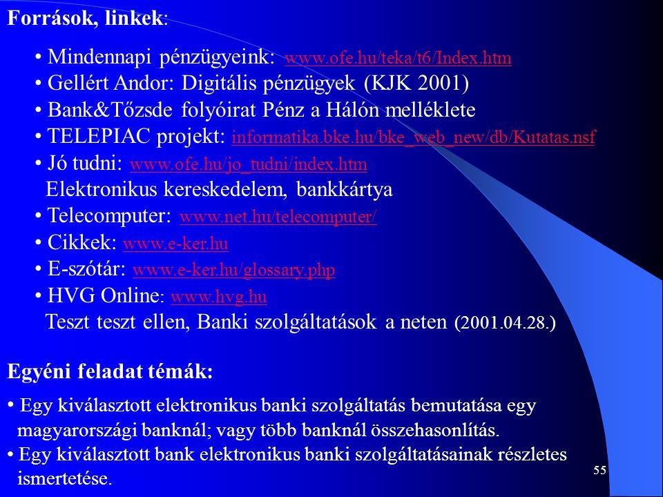 55 Források, linkek: • Mindennapi pénzügyeink: www.ofe.hu/teka/t6/Index.htm www.ofe.hu/teka/t6/Index.htm • Gellért Andor: Digitális pénzügyek (KJK 200