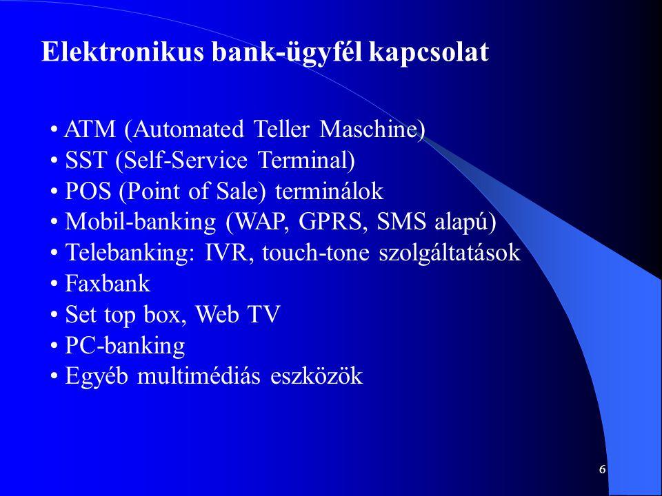 6 Elektronikus bank-ügyfél kapcsolat • ATM (Automated Teller Maschine) • SST (Self-Service Terminal) • POS (Point of Sale) terminálok • Mobil-banking