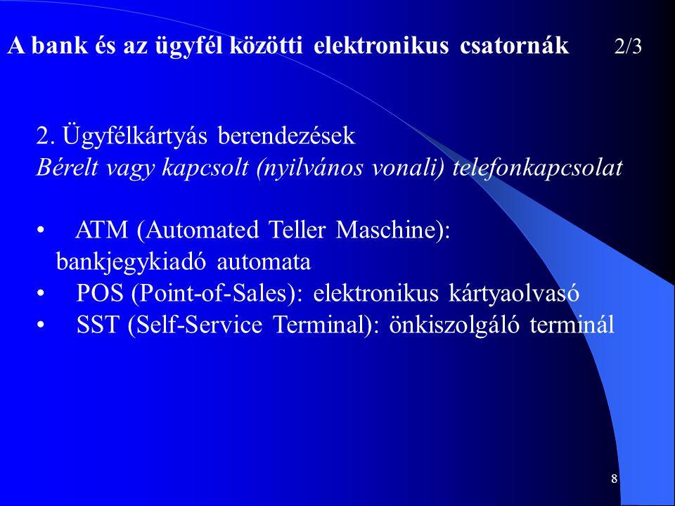 8 A bank és az ügyfél közötti elektronikus csatornák 2/3 2. Ügyfélkártyás berendezések Bérelt vagy kapcsolt (nyilvános vonali) telefonkapcsolat • ATM