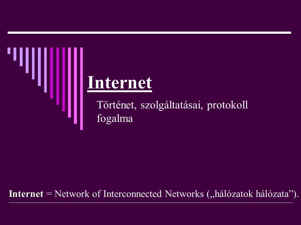 """Internet Történet, szolgáltatásai, protokoll fogalma Internet Internet = Network of Interconnected Networks (""""hálózatok hálózata"""")."""