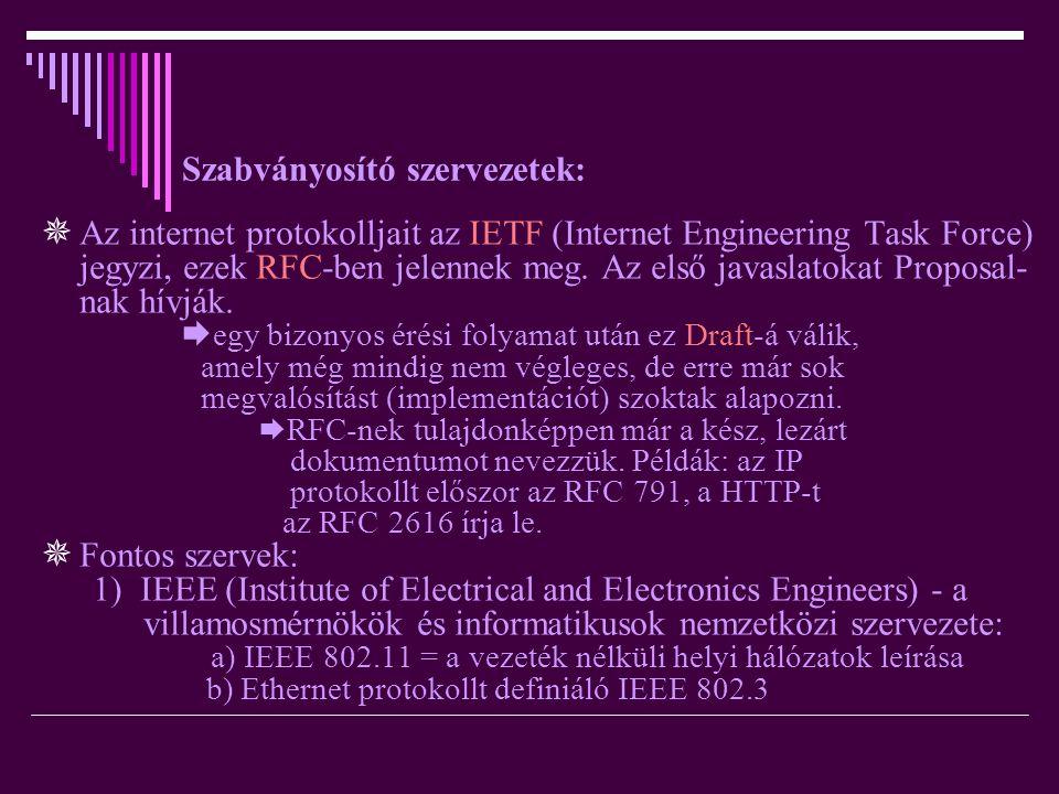 Szabványosító szervezetek:  Az internet protokolljait az IETF (Internet Engineering Task Force) jegyzi, ezek RFC-ben jelennek meg. Az első javaslatok