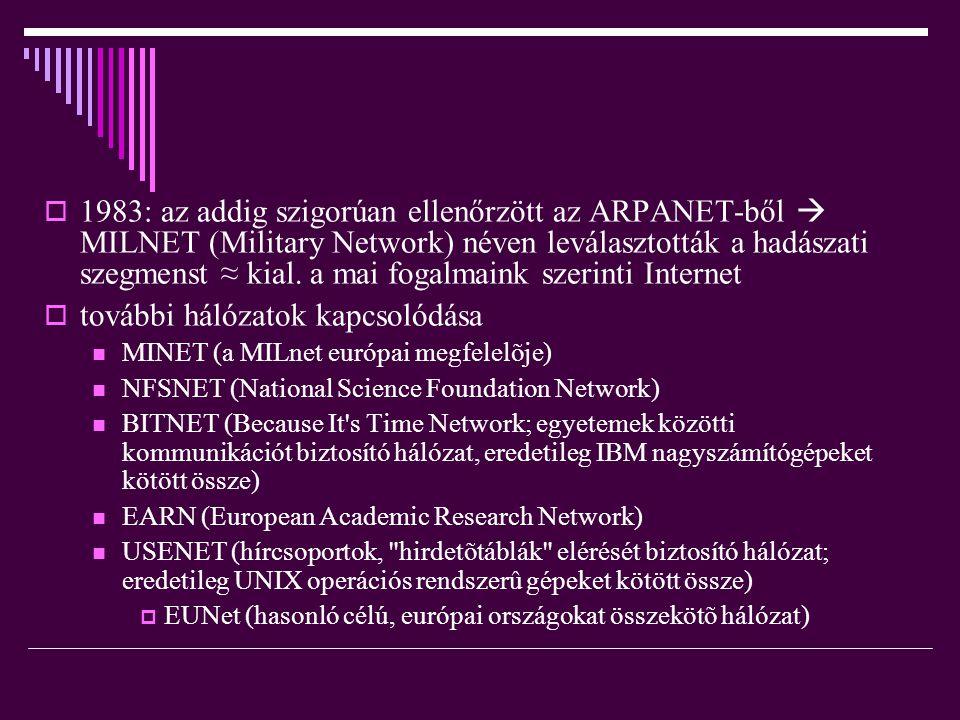  1983: az addig szigorúan ellenőrzött az ARPANET-ből  MILNET (Military Network) néven leválasztották a hadászati szegmenst ≈ kial. a mai fogalmaink