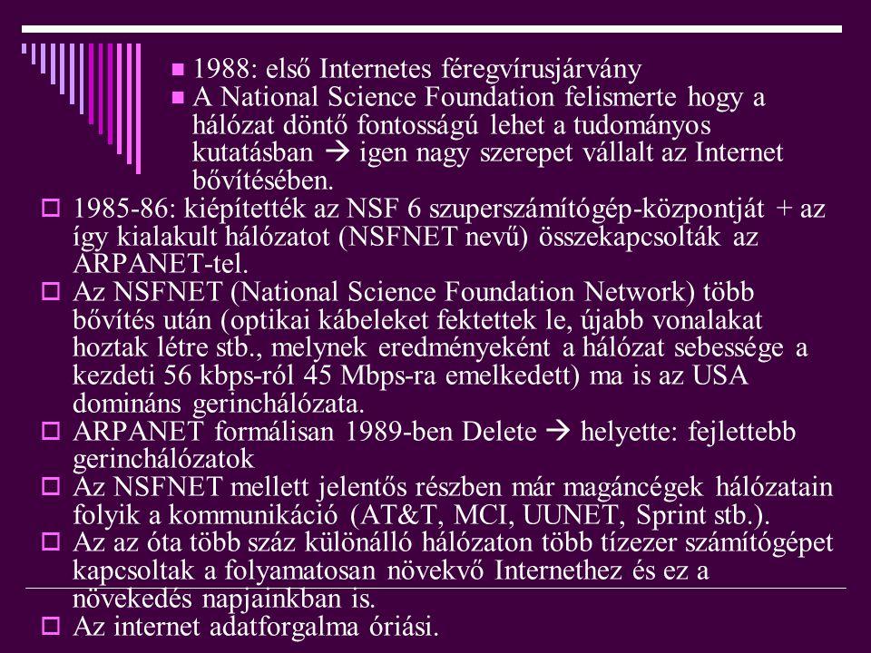  1988: első Internetes féregvírusjárvány  A National Science Foundation felismerte hogy a hálózat döntő fontosságú lehet a tudományos kutatásban  i