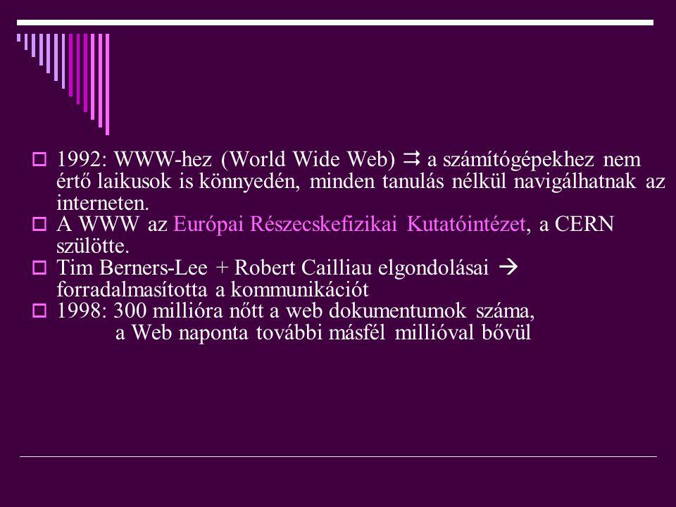  1992: WWW-hez (World Wide Web)  a számítógépekhez nem értő laikusok is könnyedén, minden tanulás nélkül navigálhatnak az interneten.  A WWW az Eur