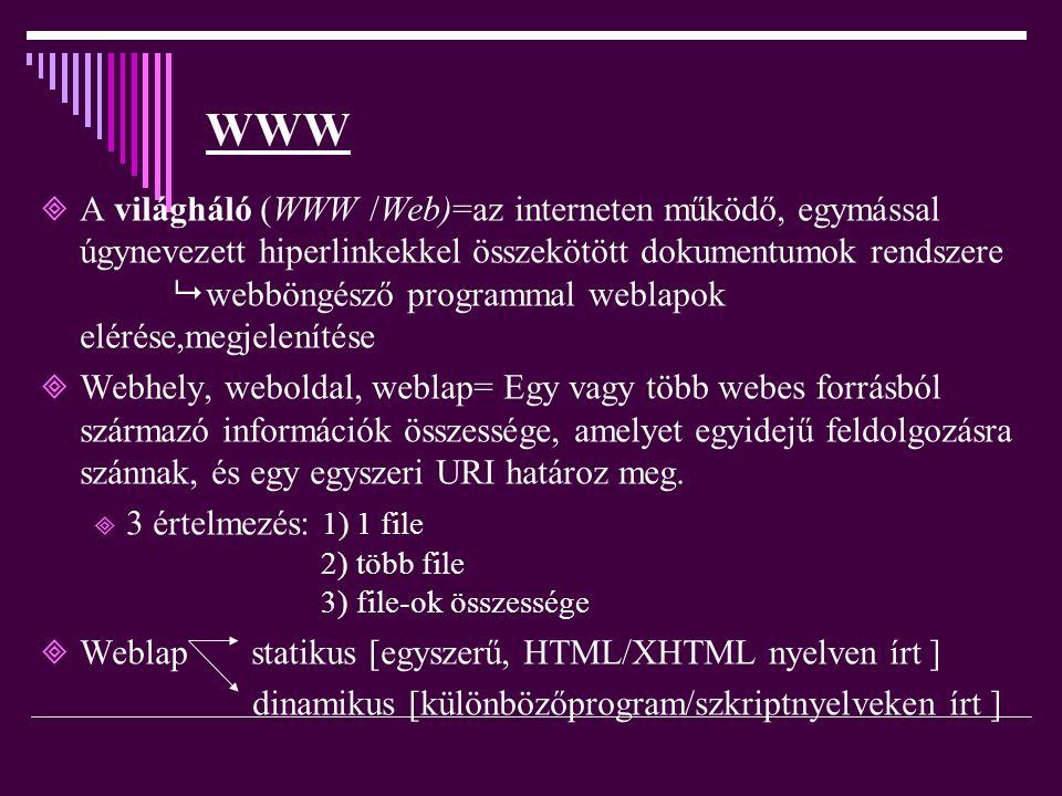 WWW AA világháló (WWW /Web)=az interneten működő, egymással úgynevezett hiperlinkekkel összekötött dokumentumok rendszere  webböngésző programmal w