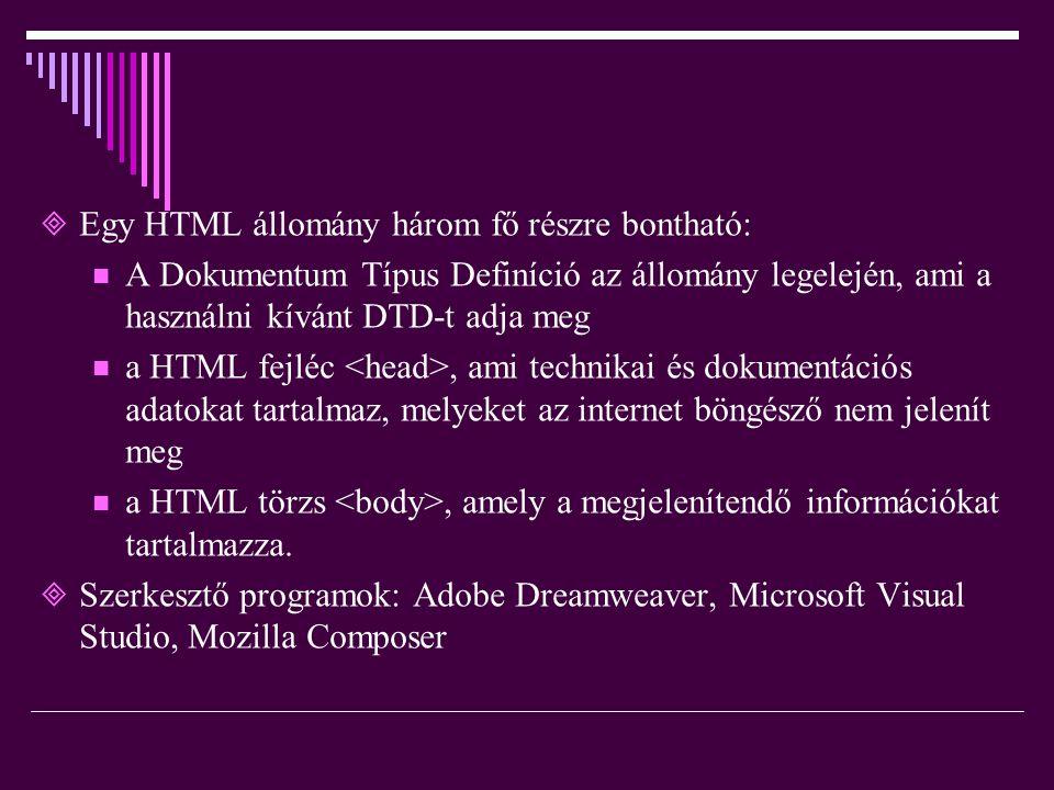 EEgy HTML állomány három fő részre bontható: AA Dokumentum Típus Definíció az állomány legelején, ami a használni kívánt DTD-t adja meg aa HTML