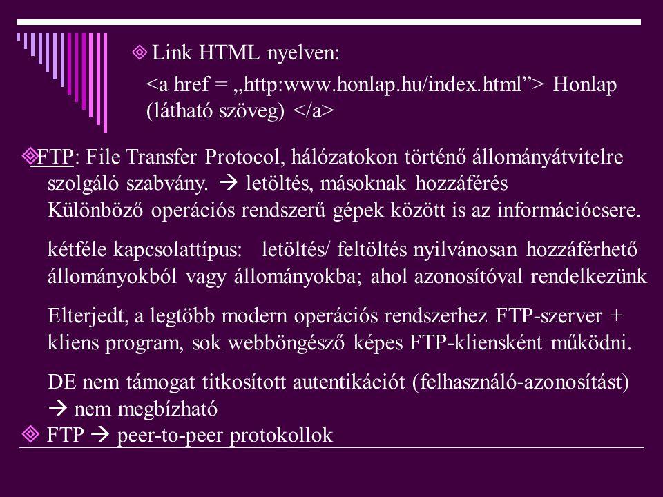  Link HTML nyelven: Honlap (látható szöveg)  FTP: File Transfer Protocol, hálózatokon történő állományátvitelre szolgáló szabvány.  letöltés, mások