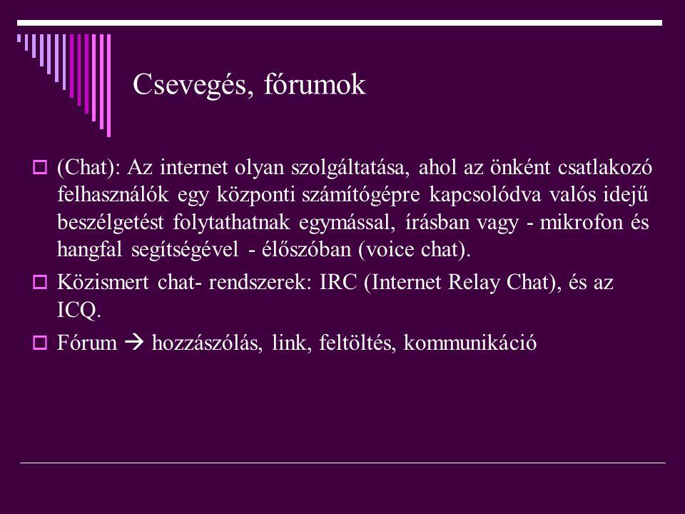 Csevegés, fórumok  (Chat): Az internet olyan szolgáltatása, ahol az önként csatlakozó felhasználók egy központi számítógépre kapcsolódva valós idejű