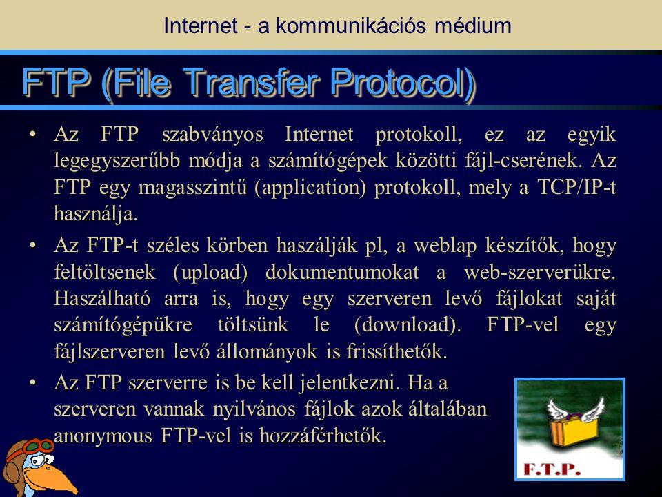 15 TelnetTelnet • •A Telnet jellegű szolgáltatások segítségével távolról is hozzáférhetünk valaki más számítógépéhez, ha ez megengedett.