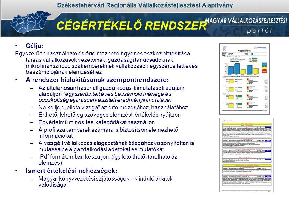 """•Célja: Egyszerűen használható és értelmezhető ingyenes eszköz biztosítása társas vállalkozások vezetőinek, gazdasági tanácsadóknak, mikrofinanszírozó szakembereknek vállakozások egyszerűsített éves beszámolójának elemzéséhez •A rendszer kialakításának szempontrendszere: –Az általánosan használt gazdálkodási kimutatások adatain alapuljon (egyszerűsített éves beszámoló mérlege és összköltség eljárással készített eredménykimutatása) –Ne kelljen """"pilóta vizsga az értelmezéséhez, használatához –Érthető, lehetőleg szöveges elemzést, értékelés nyújtson –Egyértelmű minősítési kategóriákat használjon –A profi szakemberek számára is biztosítson elemezhető információkat –A vizsgált vállalkozás alagazatának átlagához viszonyítottan is mutassa be a gazdálkodási adatokat és mutatókat."""