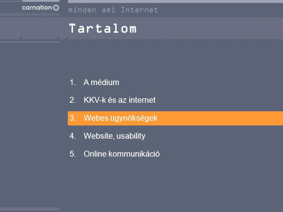 Tartalom 1.A médium 2.KKV-k és az internet 3.Webes ügynökségek 4.Website, usability 5.Online kommunikáció minden ami Internet