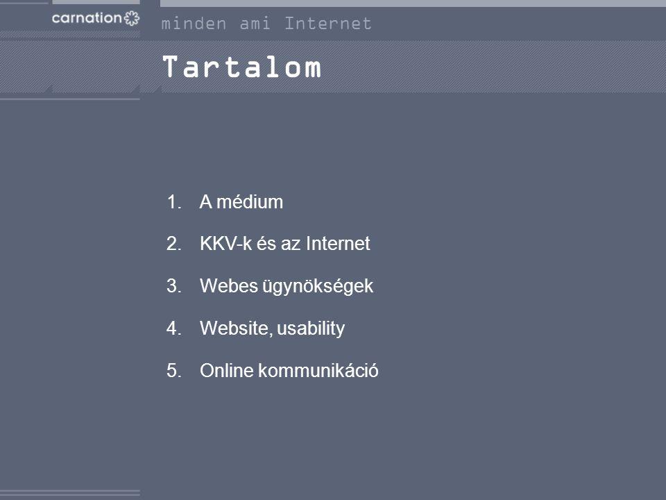 minden ami Internet Tartalom 1.A médium 2.KKV-k és az Internet 3.Webes ügynökségek 4.Website, usability 5.Online kommunikáció