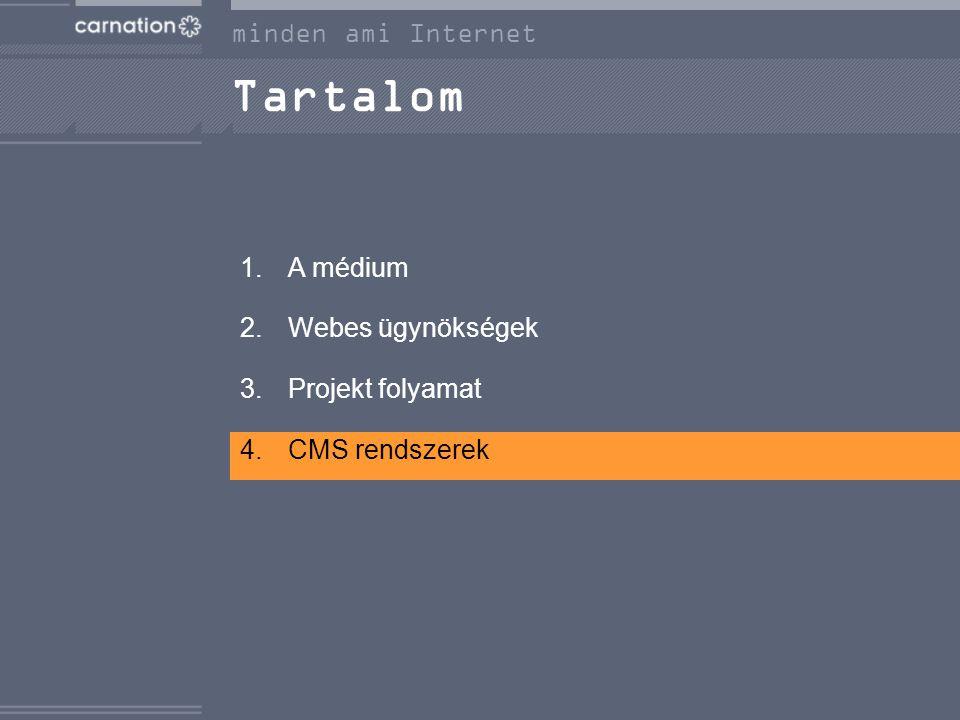 Tartalom 1.A médium 2.Webes ügynökségek 3.Projekt folyamat 4.CMS rendszerek minden ami Internet