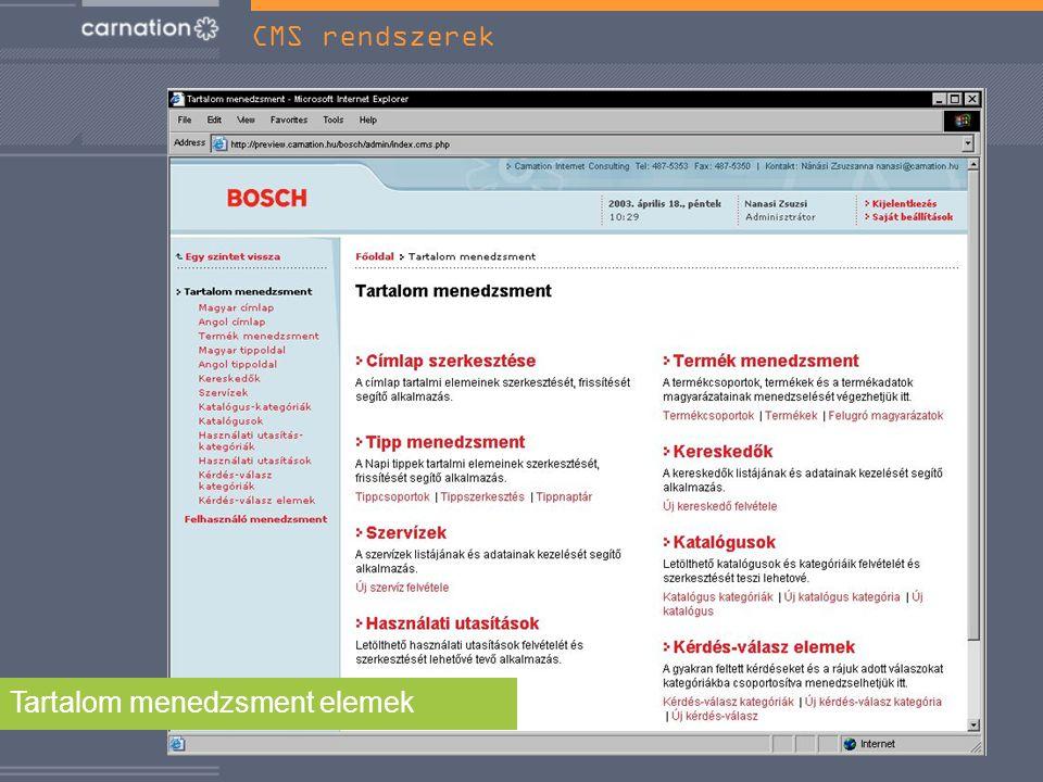 Tartalom menedzsment elemek CMS rendszerek