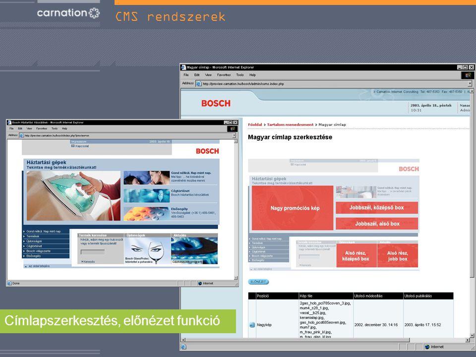 Címlapszerkesztés, előnézet funkció CMS rendszerek