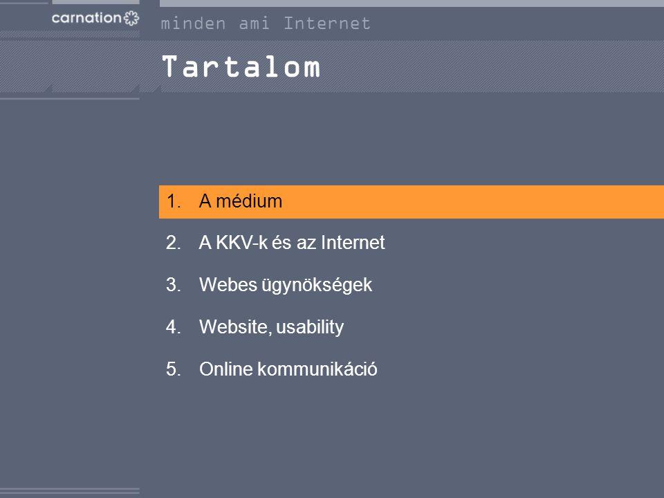 Tartalom 1.A médium 2.A KKV-k és az Internet 3.Webes ügynökségek 4.Website, usability 5.Online kommunikáció minden ami Internet