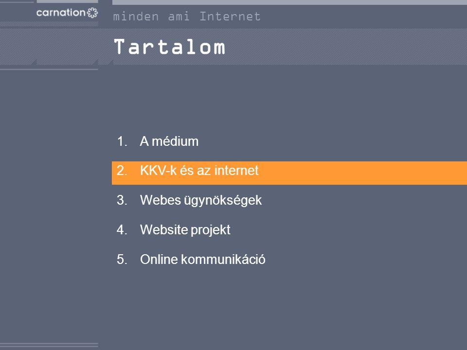 Tartalom 1.A médium 2.KKV-k és az internet 3.Webes ügynökségek 4.Website projekt 5.Online kommunikáció minden ami Internet