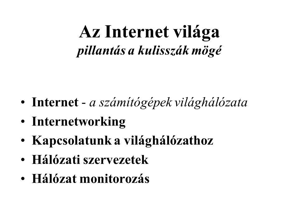 Az Internet világa pillantás a kulisszák mögé •Internet - a számítógépek világhálózata •Internetworking •Kapcsolatunk a világhálózathoz •Hálózati szervezetek •Hálózat monitorozás