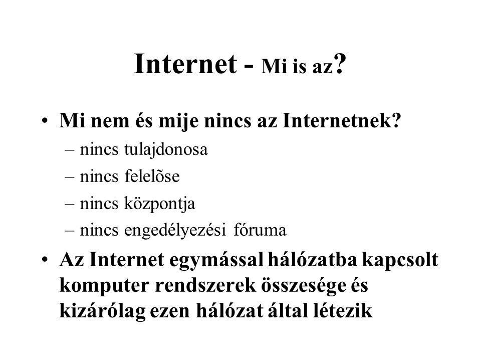 Internet - Mi is az . •Mi nem és mije nincs az Internetnek.