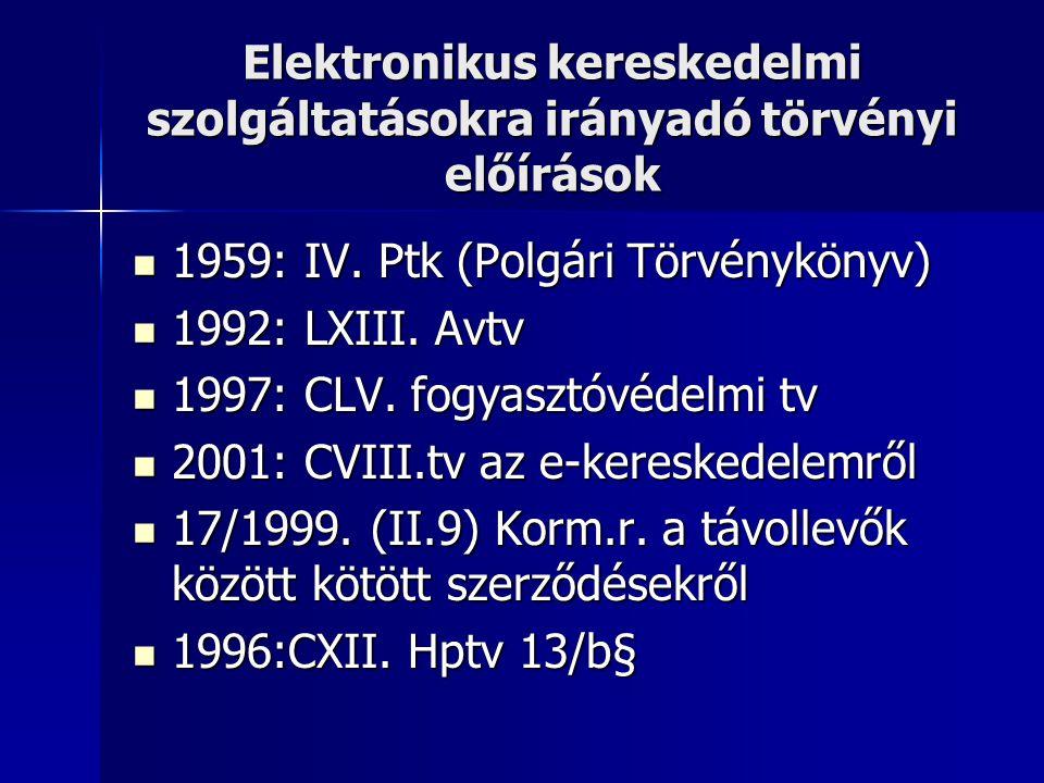 Elektronikus kereskedelmi szolgáltatásokra irányadó törvényi előírások  1959: IV. Ptk (Polgári Törvénykönyv)  1992: LXIII. Avtv  1997: CLV. fogyasz